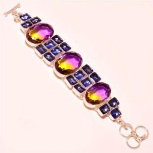 【送料無料】ブレスレット アクセサリ― アメジストシルバーブレスレットametrine with amethyst gemstone 925 silver bracelet 78
