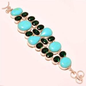 【送料無料】ブレスレット アクセサリ― ターコイズシルバーブレスレットblue copper turquoise with diopside gemstone 925 silver bracelet 78