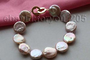 【送料無料】ブレスレット アクセサリ― 85 16mmコインパールブレスレット14kf179785 genuine natural 16mm purple coin pearl bracelet 14k f1797