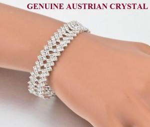 【送料無料】ブレスレット アクセサリ― オーストリアスターリングブレスレットbeautiful austrian crystal chevron design sterling silver finish bracelet