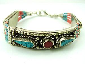 【送料無料】ブレスレット アクセサリ― チベットシルバービンテージアンティークオリジナルネパールターコイズブレスレット925 tibetan silver vintage antique original nepali turquoise bracelet 1754