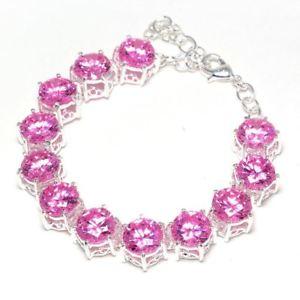【送料無料】ブレスレット アクセサリ― 20gピンクトパーズ925スターリングチェーンブレスレット720g pink topaz 925 sterling silver gemstones jewelry chain bracelet 7