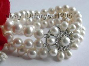 【送料無料】ブレスレット アクセサリ― 83rows9mmホワイトパールブレスレットgenuine 8 3rows natural 9mm white pearl bracelet