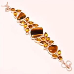 【送料無料】ブレスレット アクセサリ― タイガーアイシトリントパーズシルバーブレスレットtigers eye with citrine topaz gemstone 925 silver bracelet 78
