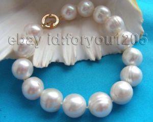 【送料無料】ブレスレット アクセサリ― 85 13mmホワイトパールブレスレット14k85 genuine natural 13mm white pearl bracelet 14k