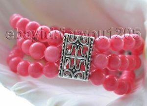 【送料無料】ブレスレット アクセサリ― ピンクラウンドブレスレット#8 3rows genuine natural 65mm pink round croal bracelet f1425
