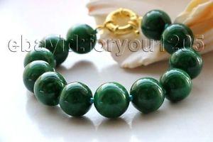【送料無料】ブレスレット アクセサリ― ラウンドエメラルドブレスレット#8 genuine natural 14mm green round emerald bracelet f1981
