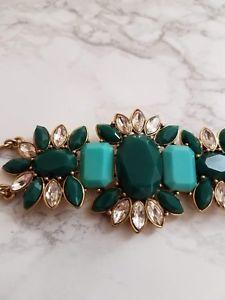 【送料無料】ブレスレット アクセサリ― ブレスレットクラスタjcrew bracelet green blue chunky cluster rhinestones crystal statement gold