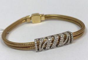 【送料無料】ブレスレット アクセサリ― ゴールデンスターリングシルバーブレスレットイタリアクリア listingla spezia golden and sterling silver italian bracelet, clear cz stones, 75
