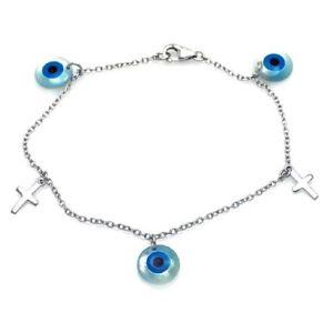 【送料無料】ブレスレット アクセサリ― ブレスレットクロスsterling silver charm bracelet w cross amp; evil eye charms