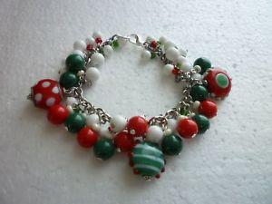 【送料無料】ブレスレット アクセサリ― クリスマスシルバーブレスレットガラスビーズチェコガラスビーズ*christmas silver tone charm bracelet abstract glass beads czech glass beads