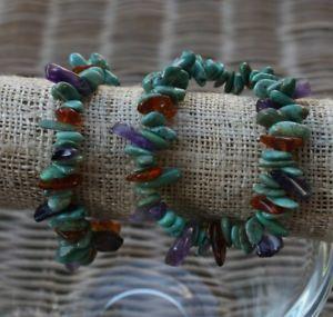 【送料無料】ブレスレット アクセサリ― ターコイズアメジストオレンジチップブレスレットハンドメイドturquoise, amethyst, amber chips bracelet, elastic, handmade