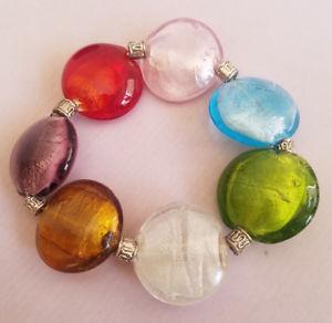 【送料無料】ブレスレット アクセサリ― ガラスディスクブレスレットカラフルストレッチbeautiful foil glass large disk stretch bracelet rainbow colorful chunky