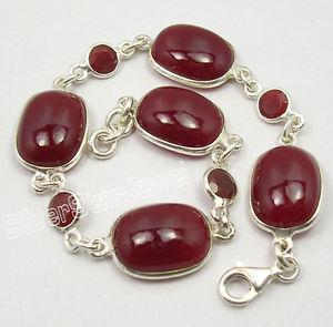 【送料無料】ブレスレット アクセサリ― スターリングシルバーカネブレスレット925 sterling silver red fire carnelian well made heavy bracelet 83