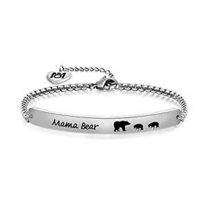 【送料無料】ブレスレット アクセサリ― 2myosparkメスマッポブレスレットステンレスブレスレットmyospark sweet family mama bear bracelet stainless steel bar bracelet gift for 2