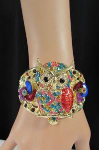 【送料無料】ブレスレット アクセサリ― メタルファッションカフブレスレットフクロウレッドピンクパープルcute women gold metal fashion cuff bracelet big owl bird flowers red pink purple