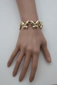 【送料無料】ブレスレット アクセサリ― メタルブレスレットファッションジュエリーバタフライウィングwomen gold metal bracelet fashion jewelry multiple butterfly wing insect charms