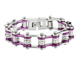 【送料無料】ブレスレット アクセサリ― ステンレススチールキャンディパープルダブルバイクチェーンブレスレットwomens stainless steel candy purple double bling bike chain bracelet us seller