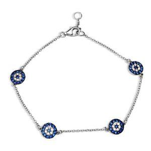 【送料無料】ブレスレット アクセサリ― ブレスレットsterling silver charm bracelet w cz stones evil eye four charms