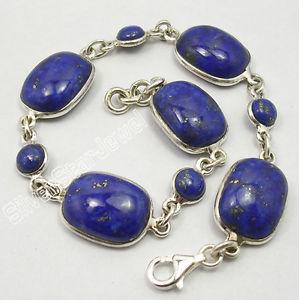 【送料無料】ブレスレット アクセサリ― ソリッドシルバーラピスラズリアールヌーボーブレスレット925 solid silver authentic lapis lazuli stones nouveau art heavy bracelet 83