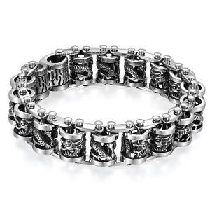 【送料無料】ブレスレット アクセサリ― ゴシックドラゴンチェーンバイカーステンレススチールメンズブレスレット9 large heavy gothic dragon chain biker stainless steel mens bracelet*19mm