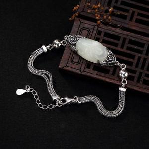 【送料無料】ブレスレット アクセサリ― hetianlisting925スターリングヴィンテージ listing925 sterling silver natural hetian jade white jade inlaid rose vintage bracelet
