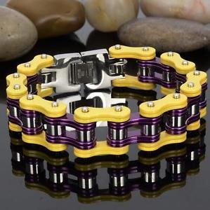 【送料無料】ブレスレット アクセサリ― バイカーステンレススチールヒップホップオートバイチェーンブレスレットパープルゴールド115g biker stainless steel hiphop motorcycle chain bracelet purple gold 866