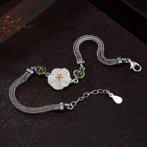 【送料無料】ブレスレット アクセサリ― スターリングシルバーホワイトヒスイロータスブレスレット925 sterling silver natural hetian jade white jade jade inlaid lotus bracelet