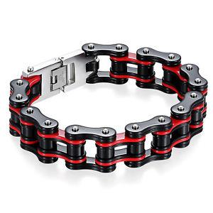 【送料無料】ブレスレット アクセサリ― 87 16mmステンレスオートバイチェーンリンクブレスレット87 mens biker 16mm wide stainless steel heavy motorcycle chain link bracelet