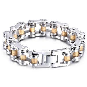 【送料無料】ブレスレット アクセサリ― 94ゴールドシルバーステンレスバイクオートバイチェーンメンズファッションブレスレット94 gold silver stainless steel bike motorcycle chain mens fashion bracelet