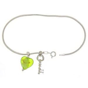 【送料無料】ブレスレット アクセサリ― スターリングシルバースネークチェーンブレスレットキーアンプムラノガラス925 sterling silver 8 snake chain bracelet with key amp; heart murano glass charms