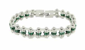 【送料無料】ブレスレット アクセサリ― ステンレススチールシルバーエメラルドバイクチェーンブレスレットwomens stainless steel silver emerald may birth stone bike chain bracelet