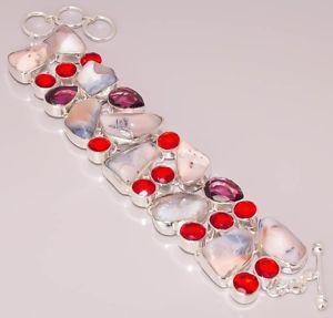 【送料無料】ブレスレット アクセサリ― オパールガーネットブレスレットnatural dendrite opal garnet quartz jewelry 925 sterling silver plated bracelet