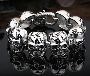 【送料無料】ブレスレット アクセサリ― ヘビーパンクゴシックバイカースケルトンスカルチェーンステンレススチールブレスレット146g heavy punk gothic men biker skeleton skull chain stainless steel bracelet