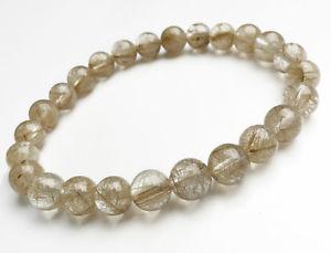 【送料無料】ブレスレット アクセサリ― シルバールチルクリスタルビーズブレスレットgenuine natural silver rutilated quartz crystal beads bracelet 7mm aaa