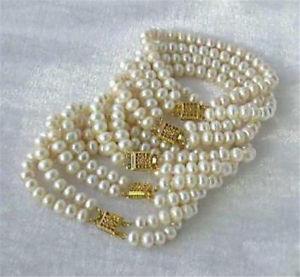 【送料無料】ブレスレット アクセサリ― ホワイトアコヤブレスレットwhole 5pc 78mm 2 row white akoya cultured pearl bracelet 75 c30236