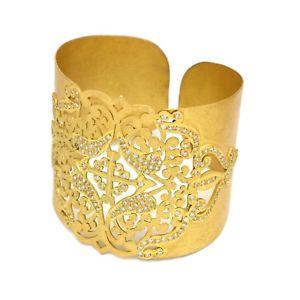 【送料無料】ブレスレット アクセサリ― デザイナーハンドメイドイエローゴールドメッキホワイトカフブレスレットdesigner handmade yellow gold plated white cz gemstone filigree cuff bracelet