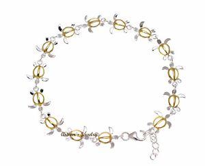 【送料無料】ブレスレット アクセサリ― yellow gold plated 2tone sterling925hawaiian honu turtle link braceletyellow gold plated 2 tone sterling silver 925 hawaii