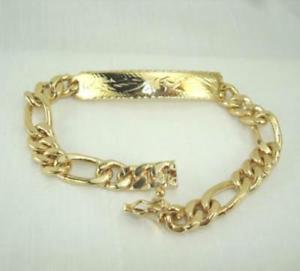 【送料無料】ブレスレット アクセサリ― 18kフィガロリンクidブレスレット9lifetime warrantyfancy 18k gold plated figaro link id bracelet 9 lifetime warranty