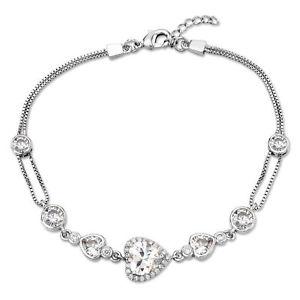 【送料無料】ブレスレット アクセサリ― チェーンブレスレットキュービックジルコンヴァレンタインlove heart halo chain bracelet cubic zircon silver plated valentines gift women