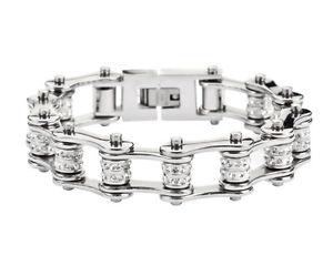 【送料無料】ブレスレット アクセサリ― ステンレスシルバーバイクチェーンブレスレットアメリカblingwomens stainless steel silver double bling bike chain bracelet usa seller