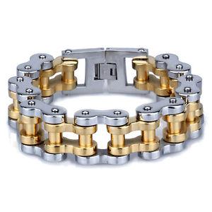 【送料無料】ブレスレット アクセサリ― ゴールドシルバーオートバイチェーンメンズブレスレットステンレススチールgold silver motorcycle chain large heavy mens bracelet stainless steel jewelry