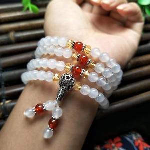 【送料無料】ブレスレット アクセサリ― ファッションビーズロングブレスレットfashion 6 mm natural white agate jade 108 beads chinese elasticity long bracelet