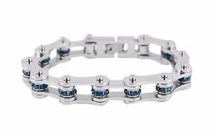 【送料無料】ブレスレット アクセサリ― ステンレスシルバージルコン12ストーンバイクチェーンブレスレットwomen stainless steel silver zircon december birth stone bike chain bracelet