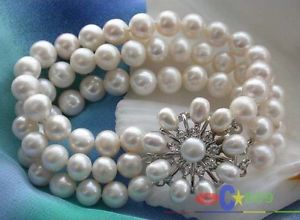 【送料無料】ブレスレット アクセサリ― ホワイトラウンドパールブレスレットp1752 8 3row 10mm white round freshwater pearl bracelet