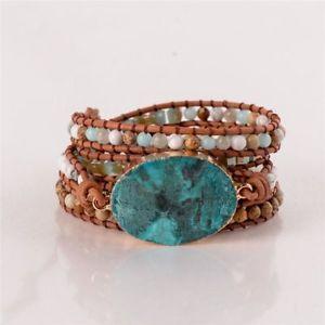 【送料無料】ブレスレット アクセサリ― ラップビーズブレスレットブレスレットボヘミアンシックブレスレットleather wrap beaded bracelet huge ocean stone bracelet bohemian chic bracelet