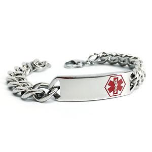【送料無料】ブレスレット アクセサリ― ステンレスid13ブレスレットmmsurgical stainless steel medical alert id curb chain bracelet 13 mm