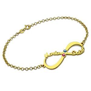 【送料無料】ブレスレット アクセサリ― カスタムパーソナライズインフィニティブレスレットバレンタインデー#custom personalized infinity name birthstone bracelet valentines day gift 004