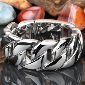 【送料無料】ブレスレット アクセサリ― ヘビーシルバーステンレススチールヒップホップブレスレットインチmens heavy silver tone stainless steel hip hop wrist bracelet 866 inches 303g