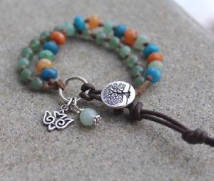 【送料無料】ブレスレット アクセサリ― ジャスパーaventビーズチャームブレスレット2fancy jasper and green avent double beaded charm bracelet handmade